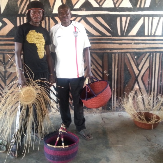 Fuseini and Abubakari in the community center for the basket weavers in Sherigu.