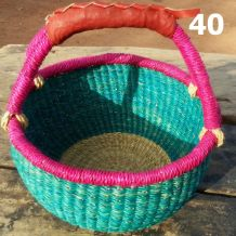 40 - unicolour with second coloured rim - turquoise and pink -